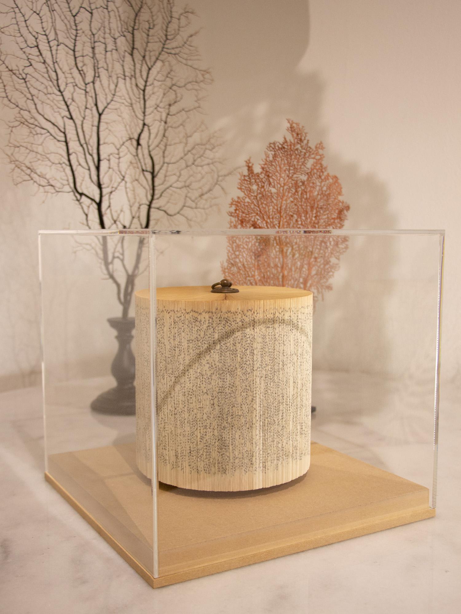 Escultura libro con peana de madera y metacrilato