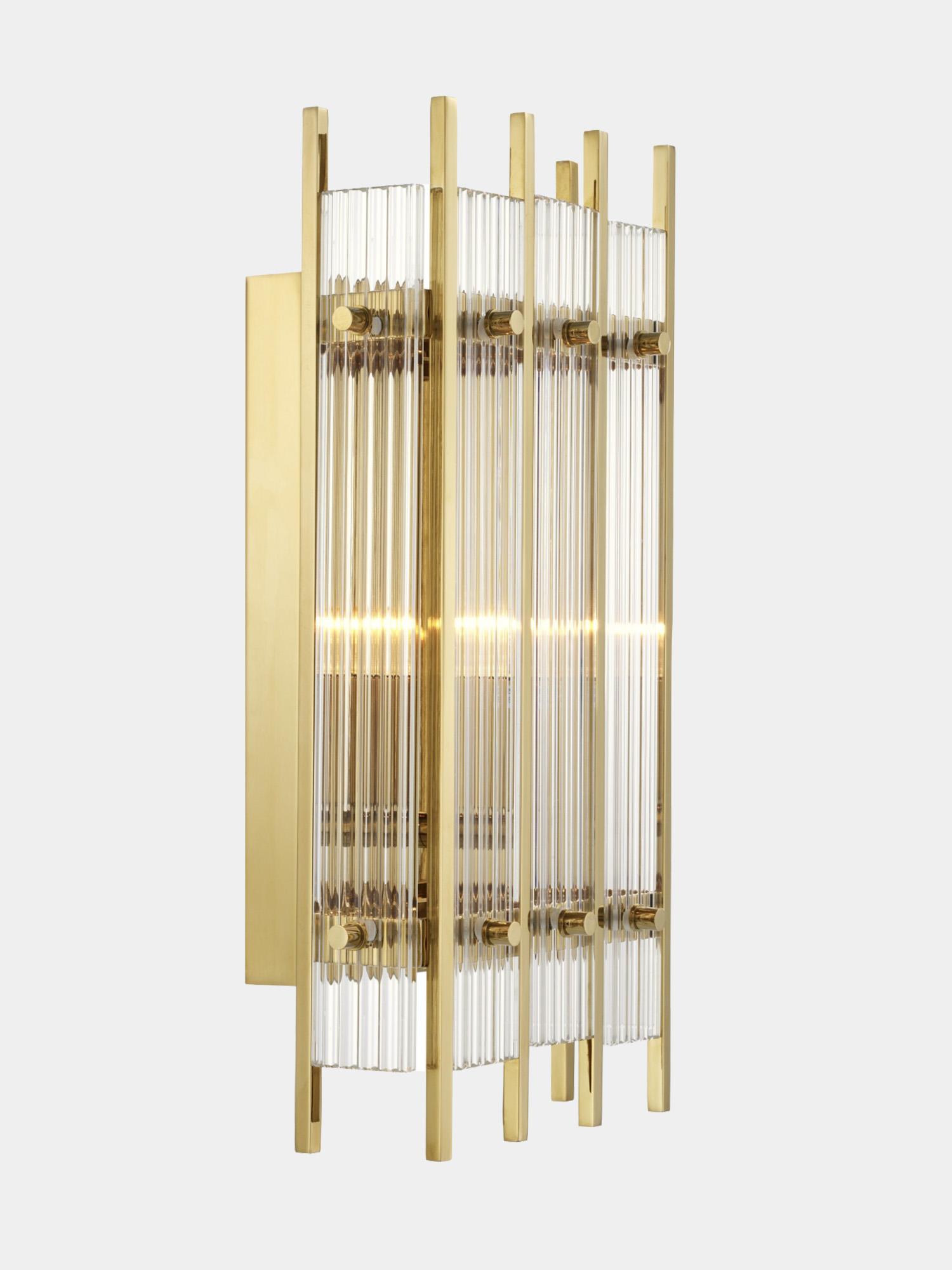 Aplique rectangular dorado de cristal estriado