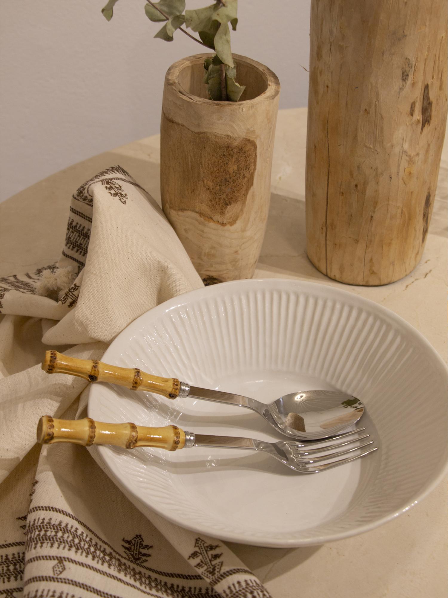 Cubiertos de servir de acero inoxidable y mango en bambú natural de SABRE Paris